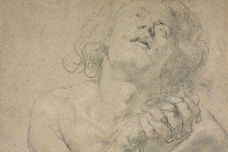 Graphite drawing of a seated male with hands clasped in front of him.