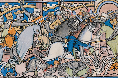 Knights on horseback battling eacother with swords.