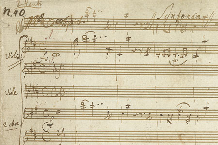 Music manuscript detail showing musical notes and N90 wirtten in top left corner.