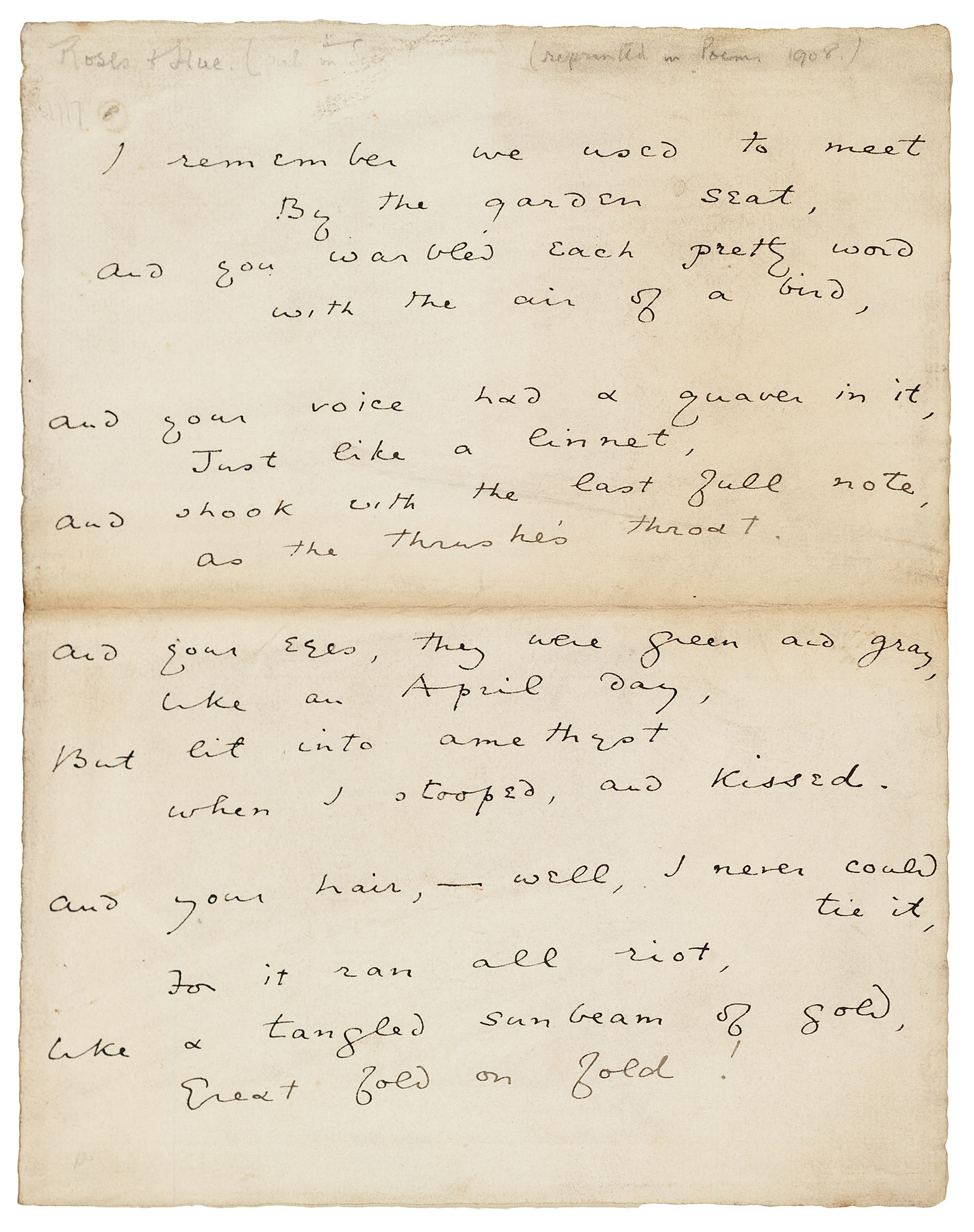 Roses And Rue Page 1 Manuscripts And Letters Of Oscar