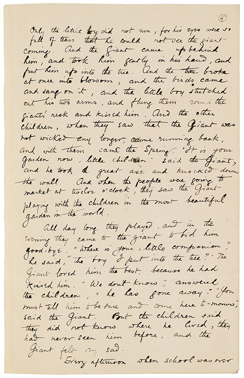 The Selfish Giant Page 6 Manuscripts And Letters Of Oscar Wilde