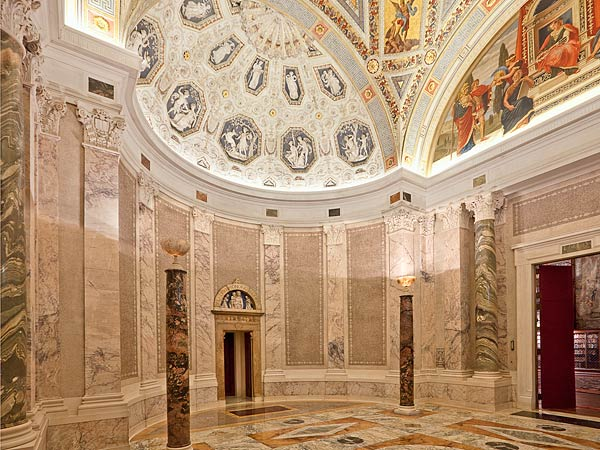 In Morganu0027s Day, Visitors To The Library Passed Through A Pair Of  Monumental Bronze Doors Into A Rotunda Replete With Opulent Detail:  Variegated Marble ...