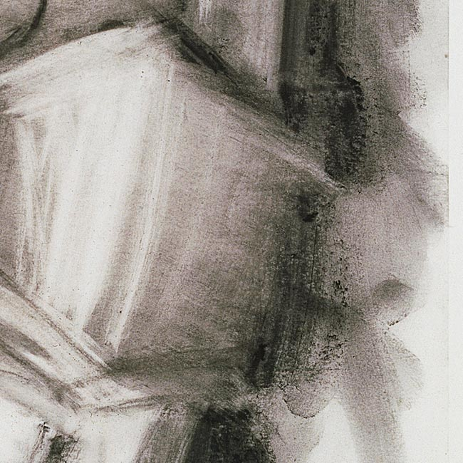 Detail of Dine's fingerprints in the manipulated charcoal of Glyptotek Drawing [11].