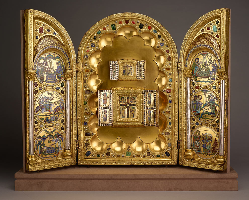 Stavelot Triptych, Belgium, wood, copper and silver gilt, enamel, semi-precious stones.