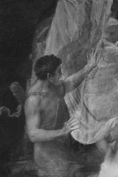 Detail of Titian painting under inrared light