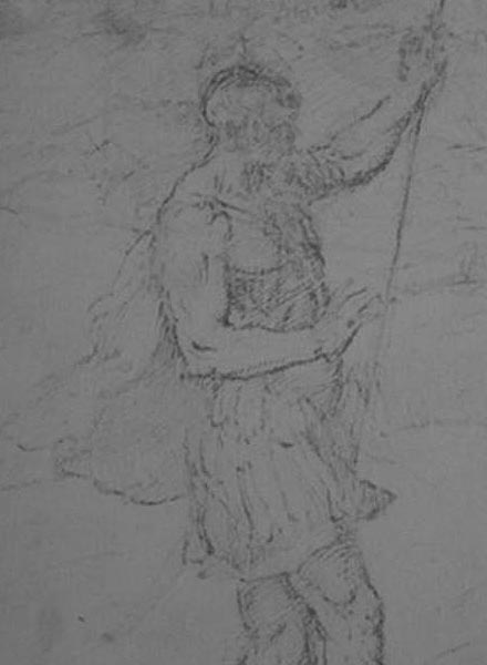 Detail of Titian drawing under infrared light