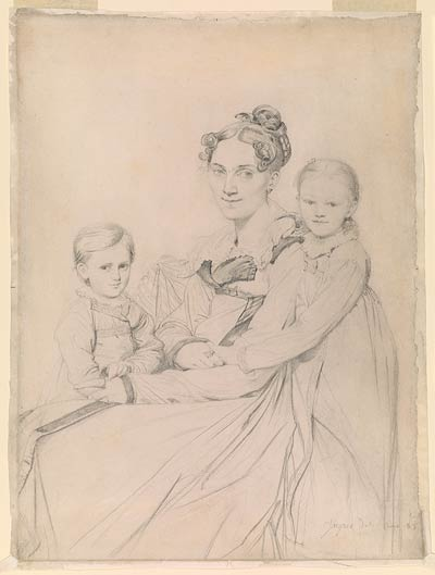 Fig. 7. This sheet was once mounted to a drawing board. Note the crease where the paper was folded around the support, the fractured edges along the crease, and the drawn lines that stop before the crease.  Jean-Auguste-Dominique Ingres. Frau Reinhold and Her Daughters, Susette-Marie and Marie-Auguste-Friederike, 1815.