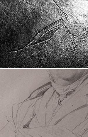 Fig. 12–13. The image on top (taken with Reflectance Transformation Imaging, or RTI), shows that Ingres scraped away an area of the sitter's collar and burnished the paper. The image on the bottom, taken in raking light, shows where Ingres redrew the detail.  Jean-Auguste-Dominique Ingres. Portrait of M. Guillaume Guillon-Lethière, 1815.