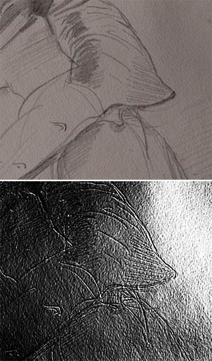 Fig. 9–10. Ingres used a blind stylus to transfer a preliminary drawing to this sheet and then drew over the inscribed lines with graphite. The image on the bottom, taken with Reflectance Transformation Imaging, or RTI, highlights the inscribed lines.  Jean-Auguste-Dominique Ingres. Portrait of M. Guillaume Guillon-Lethière, 1815.