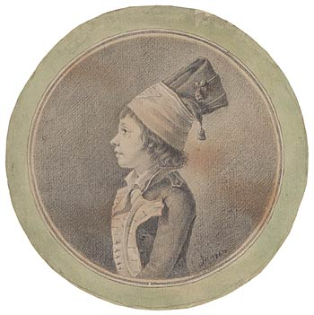 Fig. 2. Here Ingres added a red and green watercolor wash. Jean-Auguste-Dominique Ingres. Portrait of a Boy, ca. 1793–94. Purchased on the Sunny Crawford Von Bülow Fund, 1978, 1982.