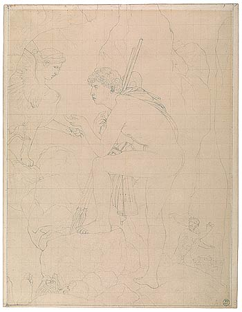 Fig. 11. Ingres divided this drawing into small and large squares to facilitate transferring the image to another sheet.  Jean-Auguste-Dominique Ingres. Study for Oedipus and the Sphinx, 1808.