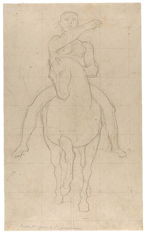 Fig. 8. Ingres likely used tracing paper to copy an earlier draft of this composition to this sheet.  Jean-Auguste-Dominique Ingres. Study for the Mounted Centurion in The Martyrdom of St. Symphorien, 1825–34.