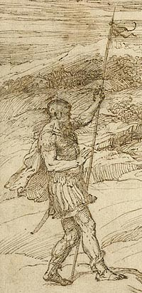 Detail of Titian drawing under normal light