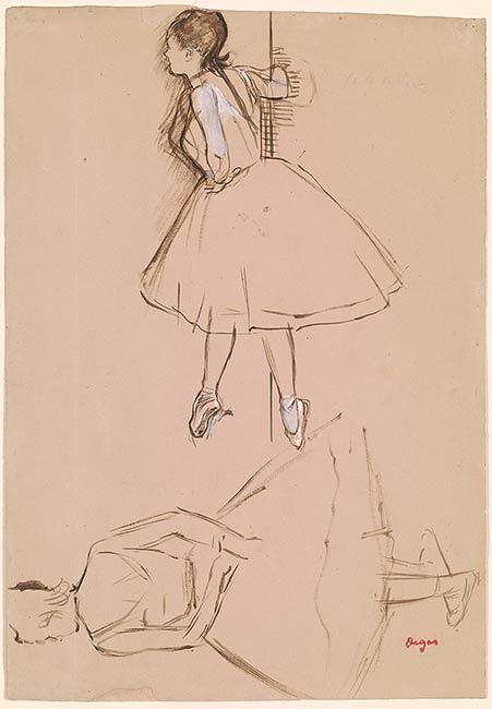 Edgar Degas Two Studies Of A Ballet Dancer Drawings