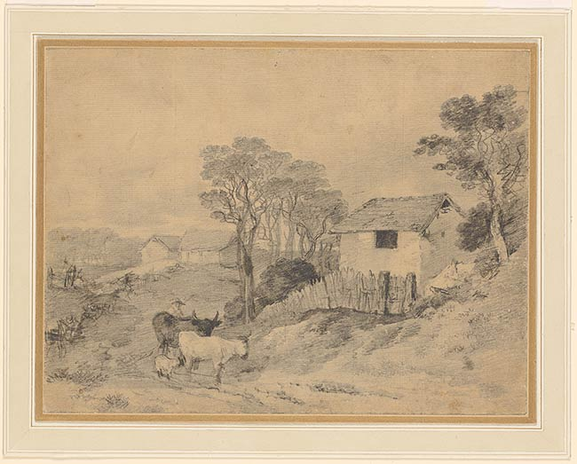 Thomas Gainsborough Landscape With Cottage And Cattle Drawings