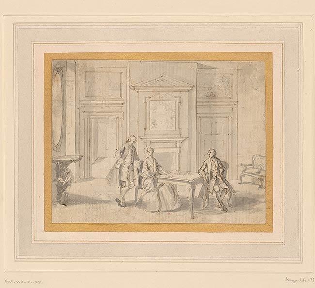 British School | Interior with Three Figures | Drawings