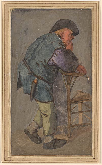 Cornelis Dusart Peasant With A Pipe In His Hand Leaning
