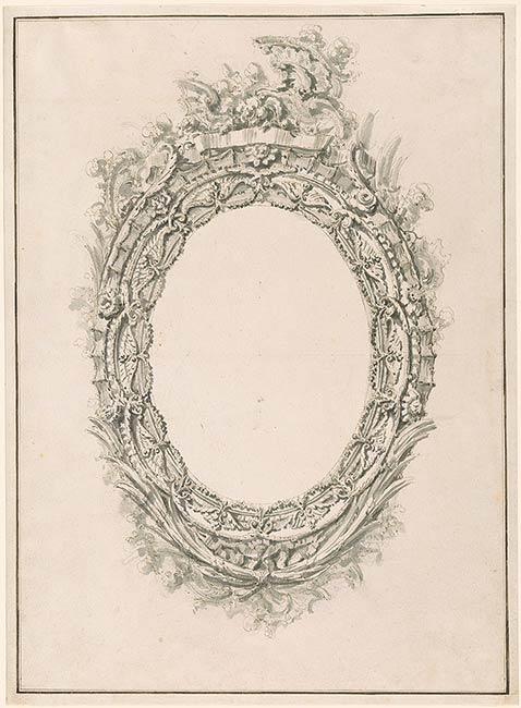 Giovanni battista piranesi design for oval mirror frame for Mirror drawing