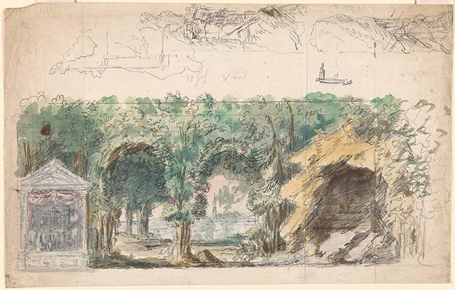 Josef platzer rustic forest scene with miscellaneous for Forest scene drawing