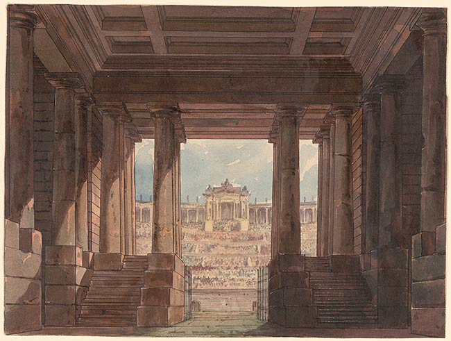 """Andreas Leonhard Roller (1805-1880) A Roman Amphitheater for Donizetti's """"Polyeucte,"""" Act VPen and black ink and watercolor on paper; varnished."""