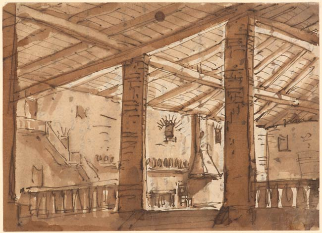Pietro Gonzaga | Interior of a Rustic Inn | Drawings Online