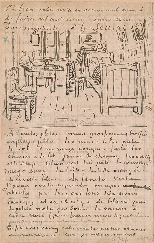 Vincent Van Gogh Autograph Letter To Paul Gauguin With A Sketch