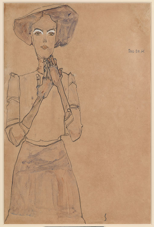 Three-quarter view of woman placed on left side of paper in dress and hat drawn in graphite on light brown paper.