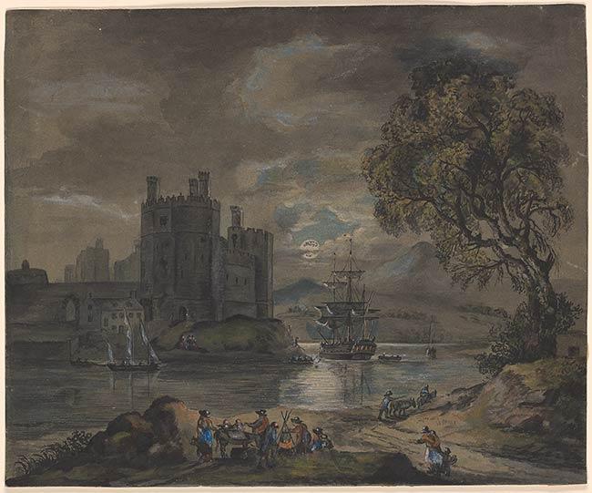 Paul Sandby Moonlight View Of Caernarfon Castle