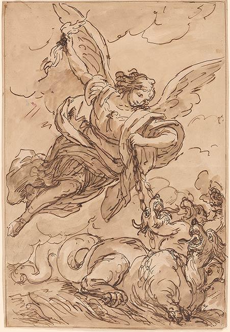 Italian School Angel Fighting A Beast Drawings Online