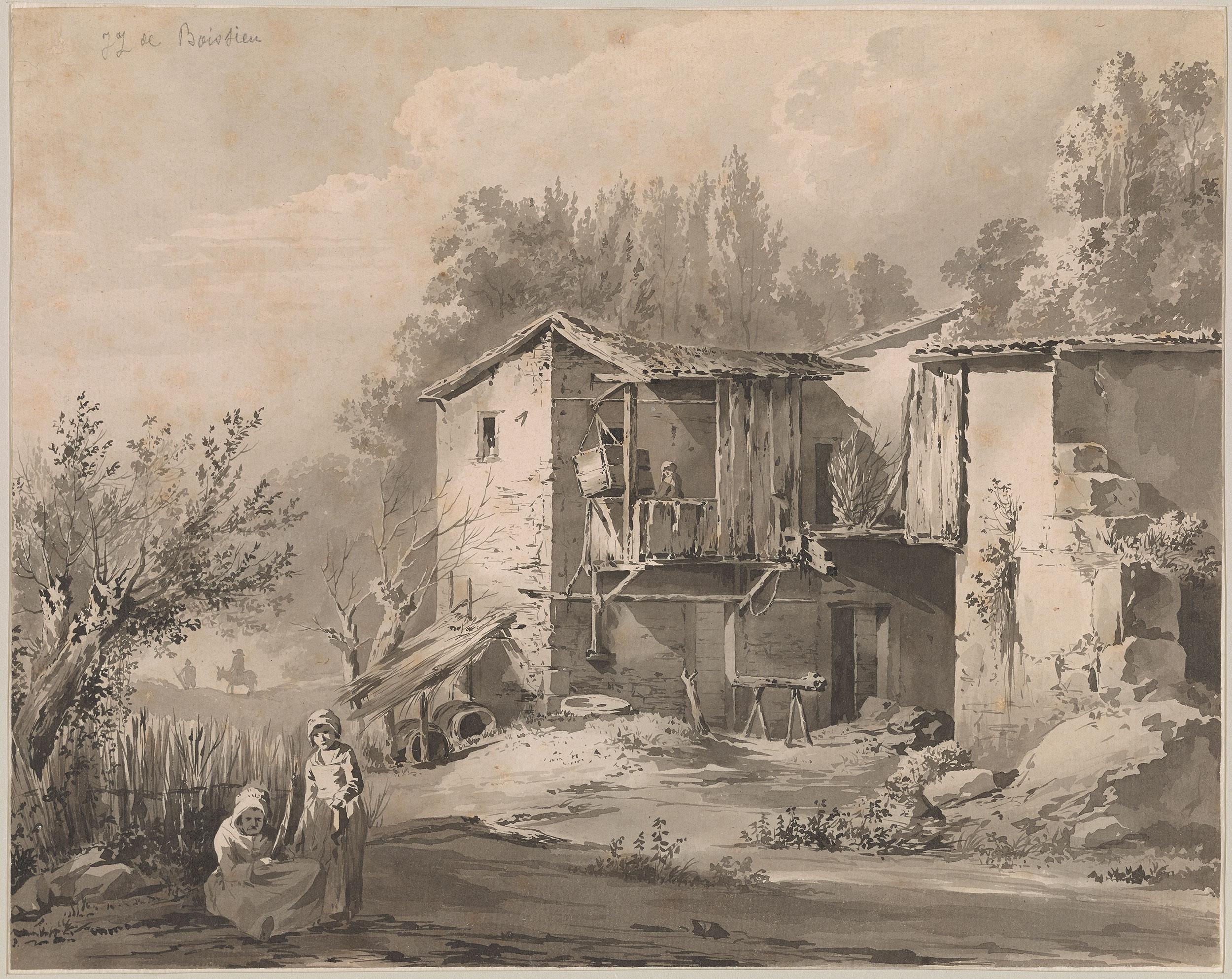Jean Jacques De Boissieu Landscape With Farm Buildings