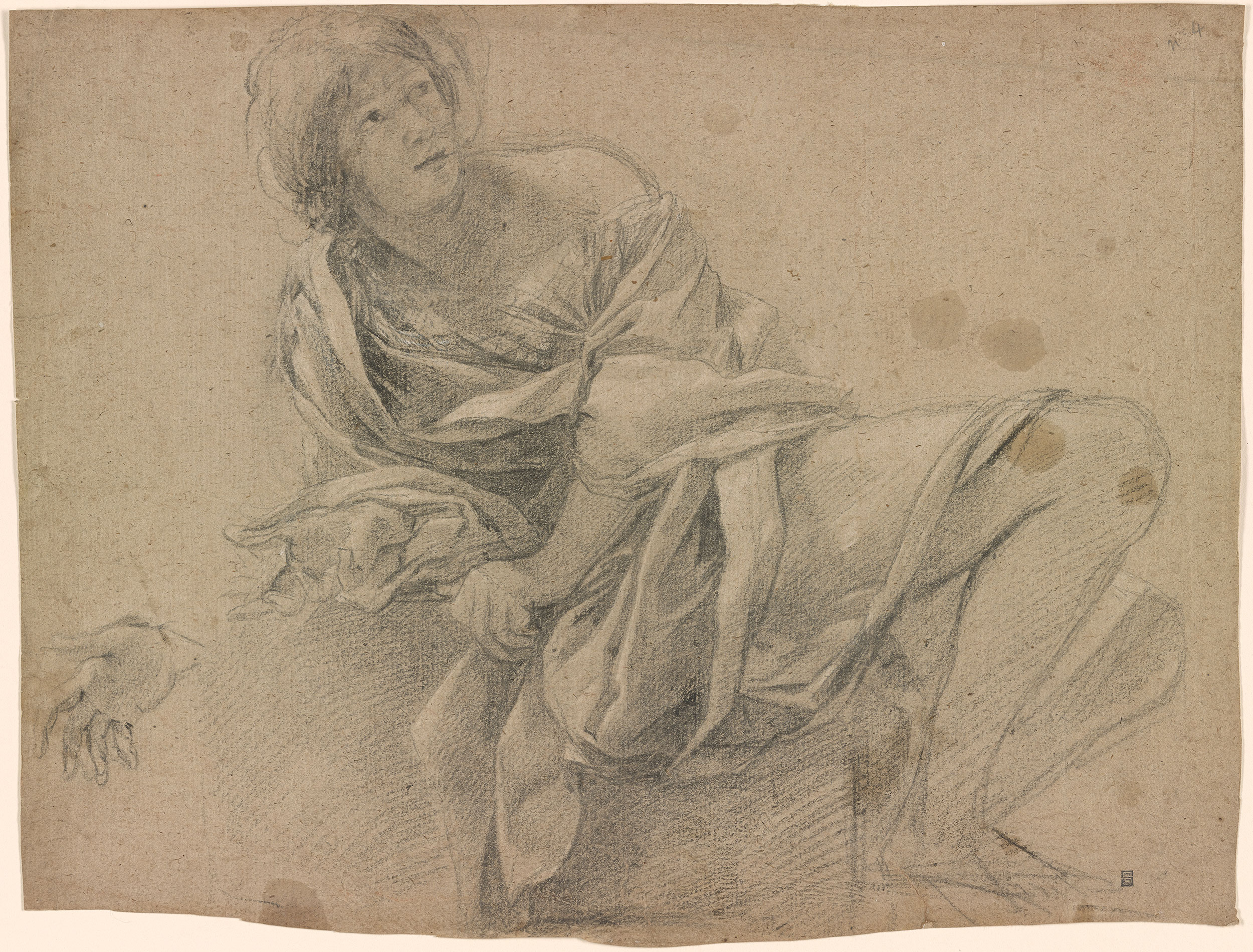 Simon Vouet Study Of A Woman Seated On A Step With