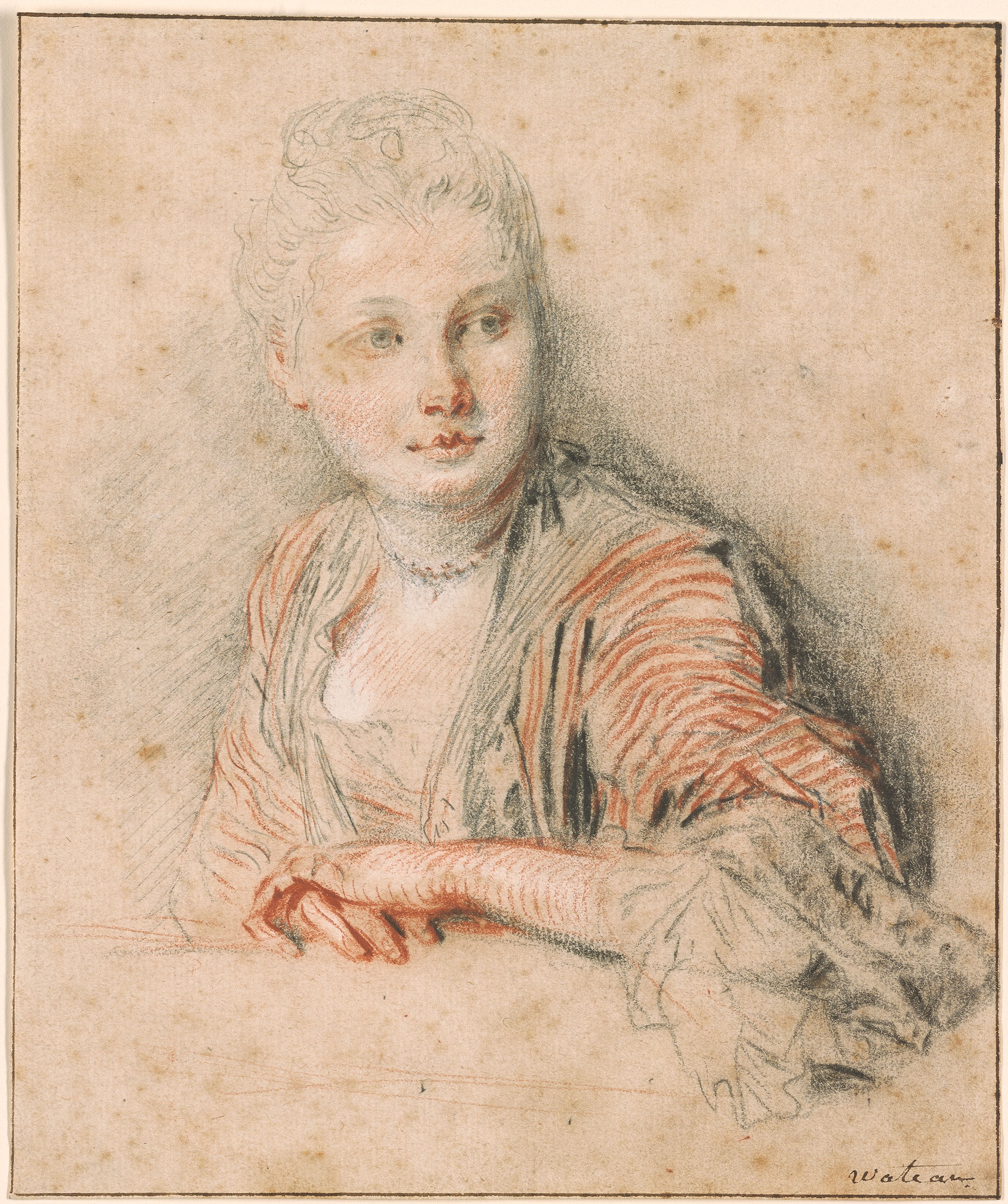 Antoine Watteau Head And Bust Of Seated Woman Verso