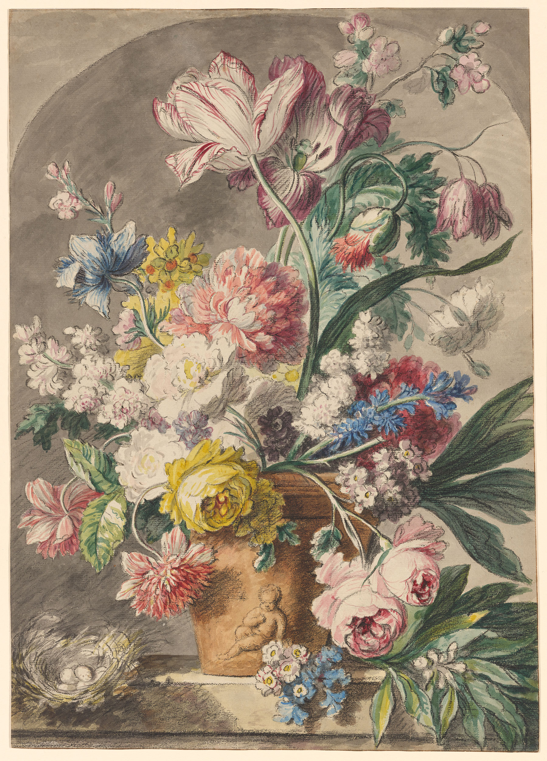 copy after jan van huysum flowers in an urn and a birds