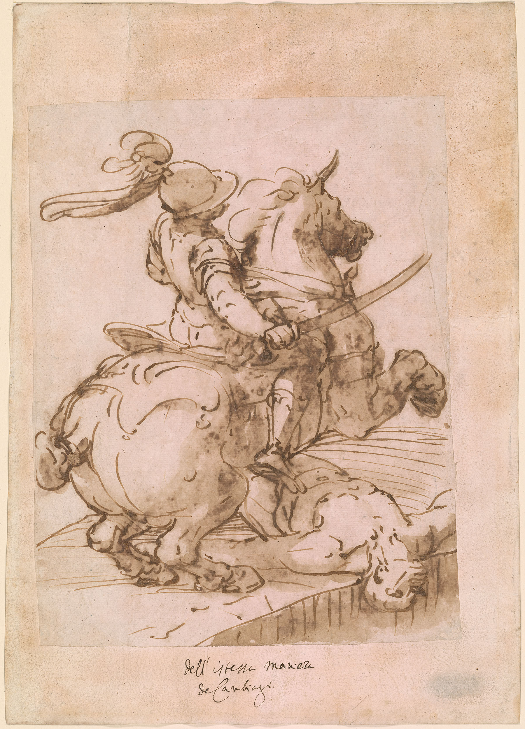 Dark Room Drawing: Soldier On A Rearing Horse With Supine Man