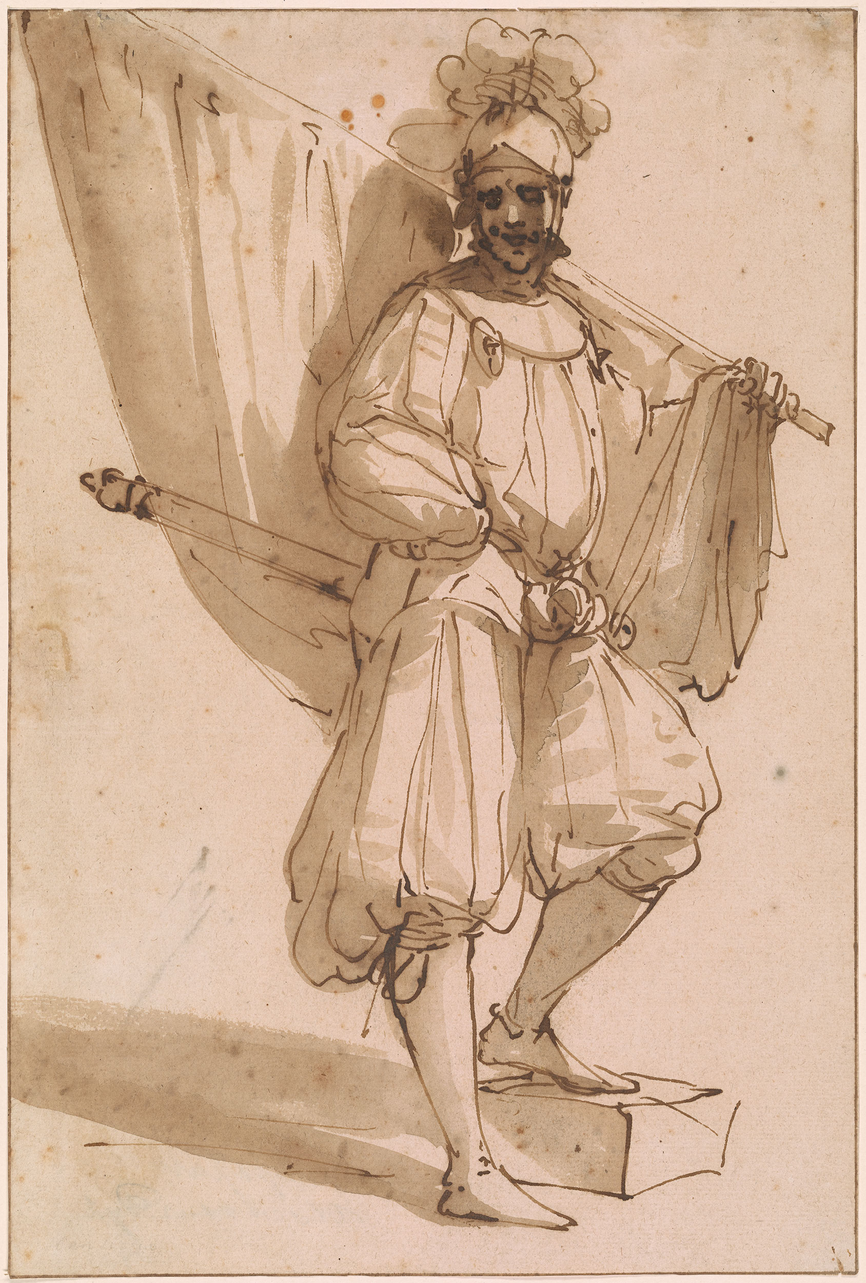 Attributed To Luca Cambiaso Standard Bearer Drawings