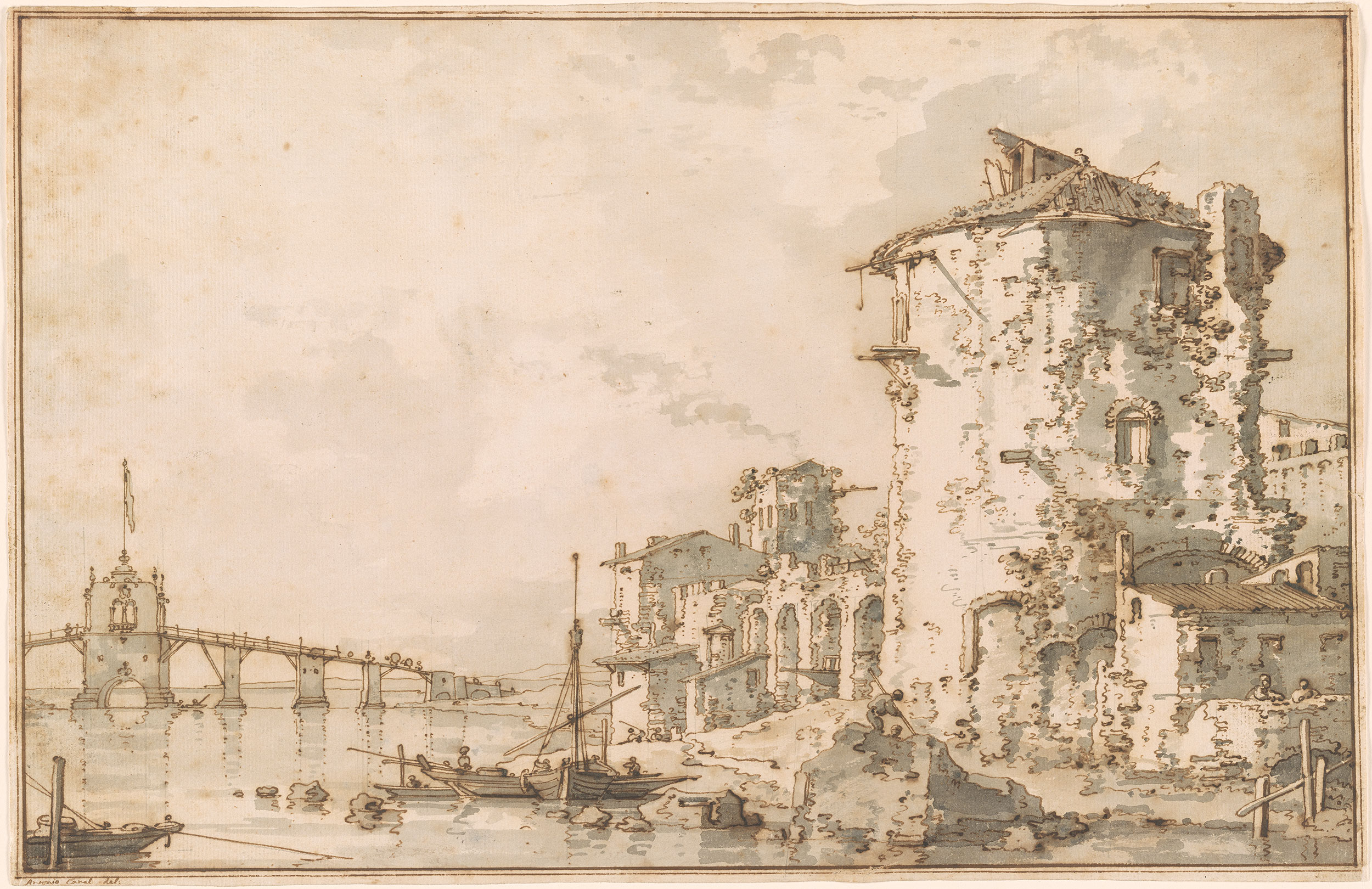 Canaletto Capriccio With A Round Tower And Ruins By The