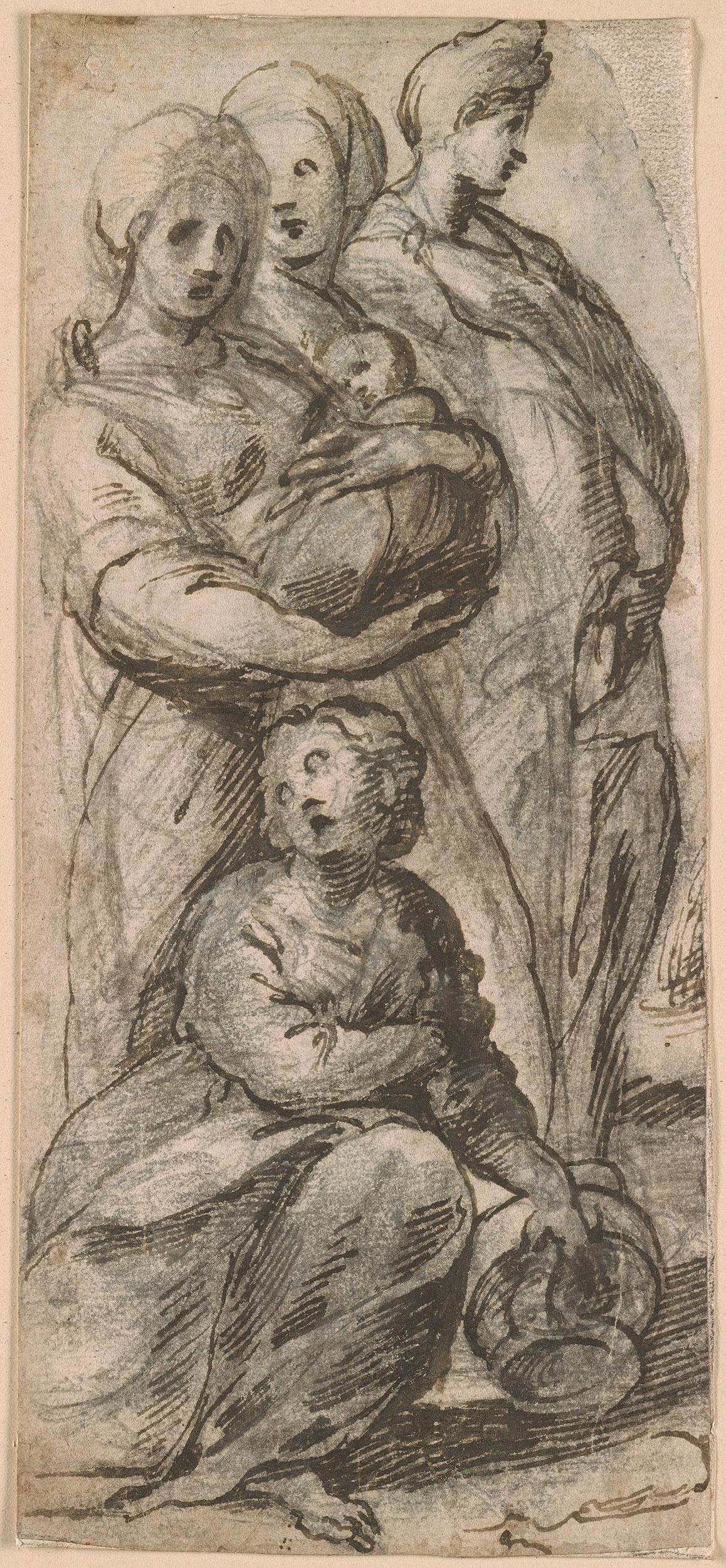 Circle Of Jacopo Da Pontormo Four Women One Carrying A