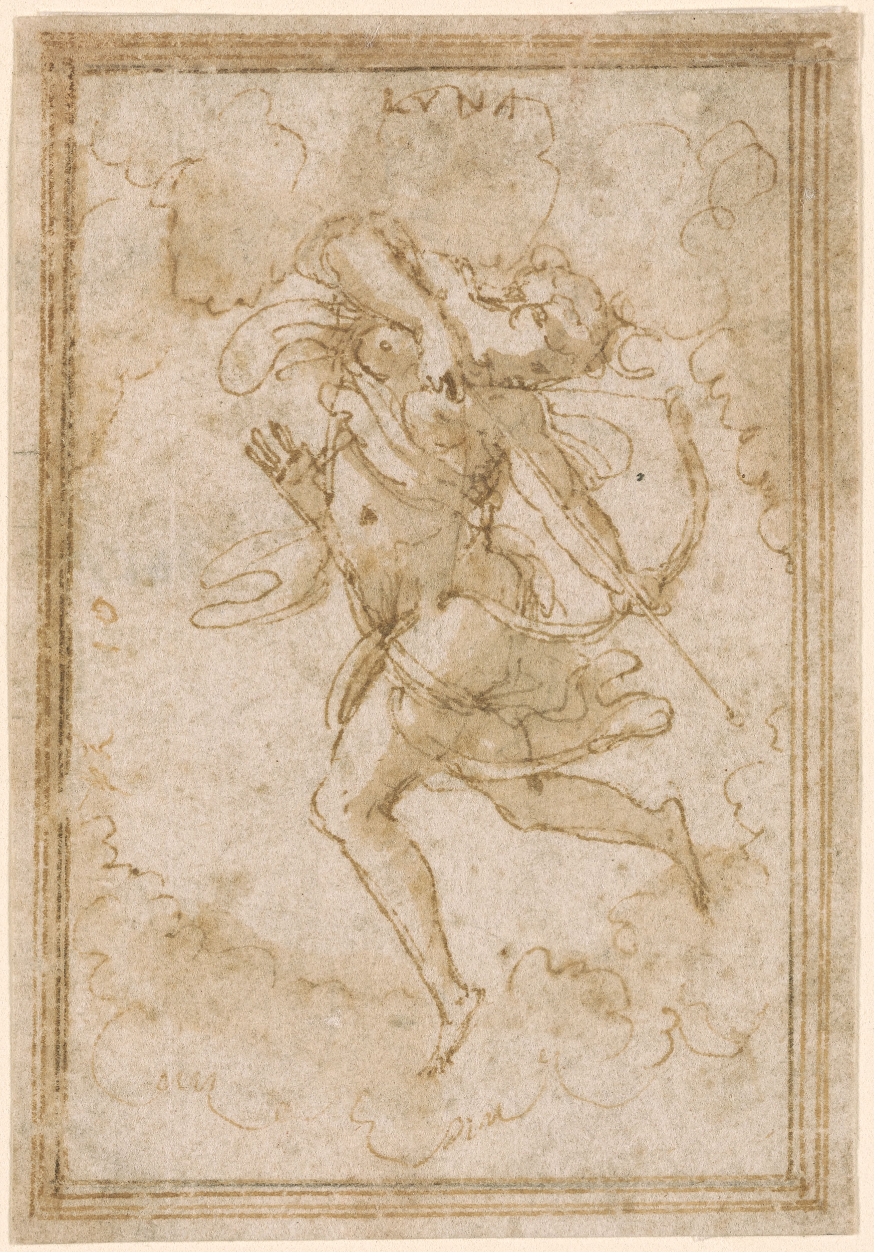 Giorgio Vasari Design For A Panel With Figure Of Diana