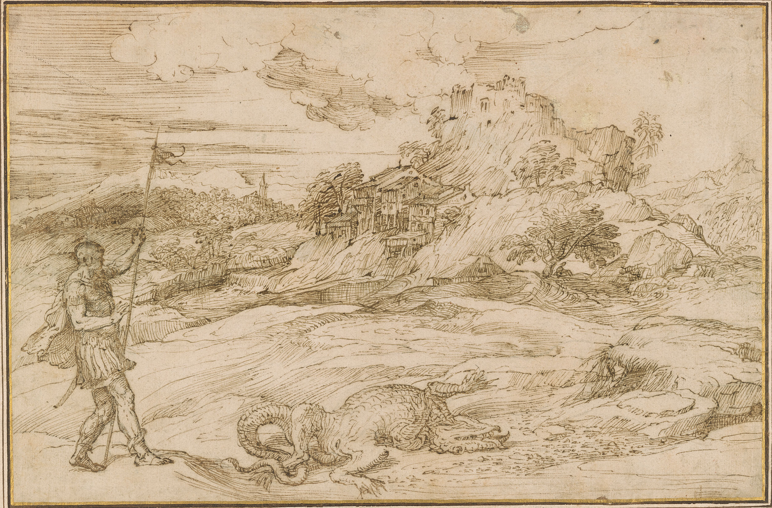 Attributed To Titian Landscape With St Theodore Overcoming The Dragon Drawings Online The Morgan Library Museum