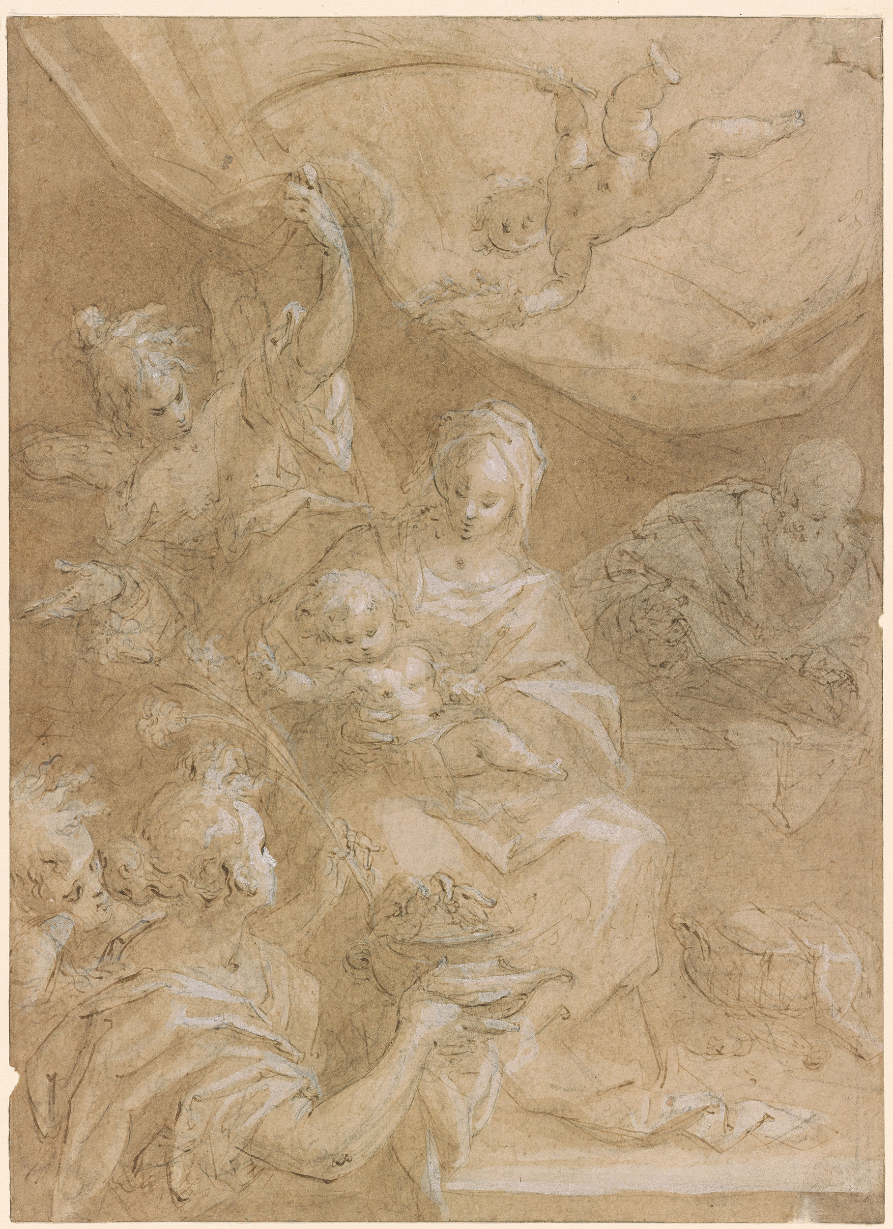Hans Von Aachen Holy Family With The Censer Drawings