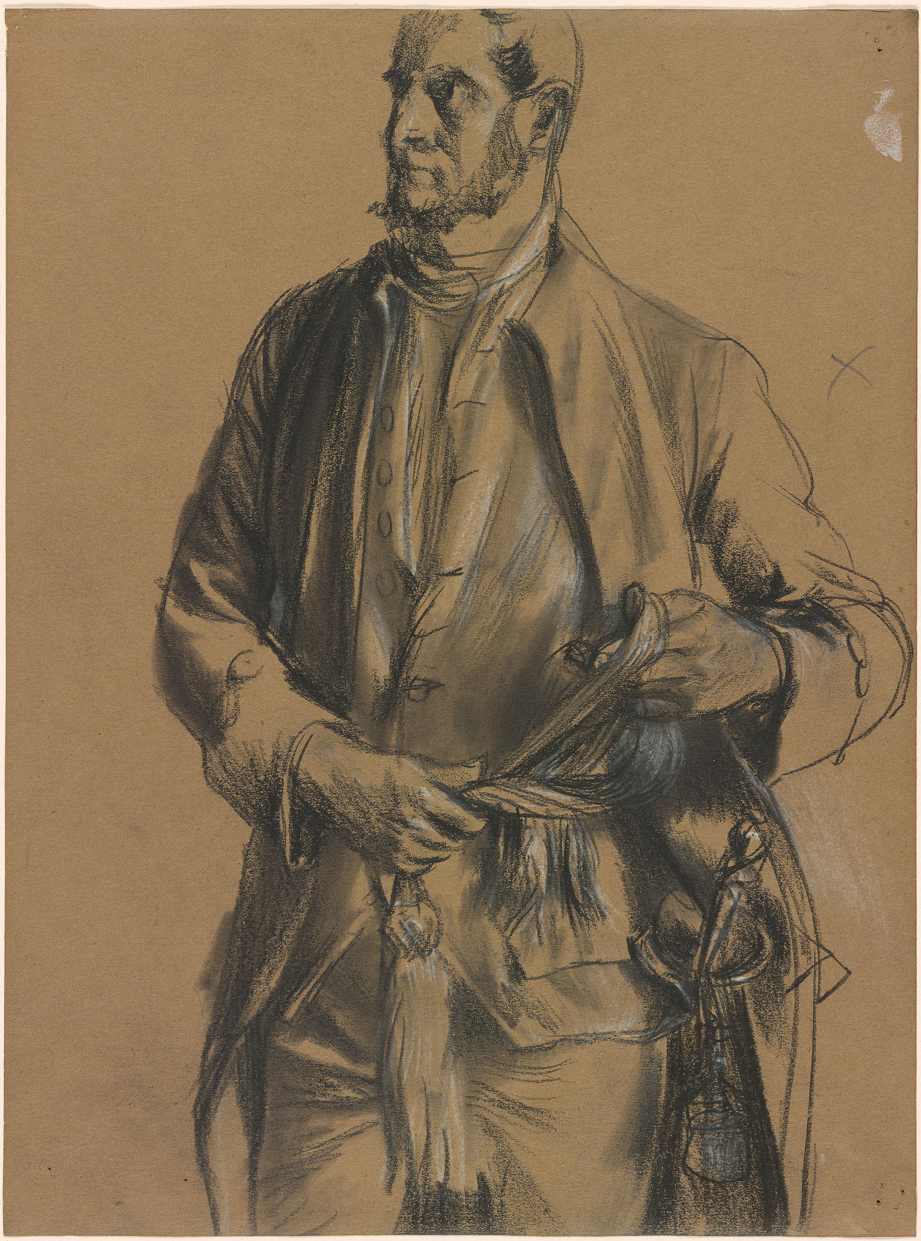 Adolph Menzel Figure Of A Man Unbinding His Sash