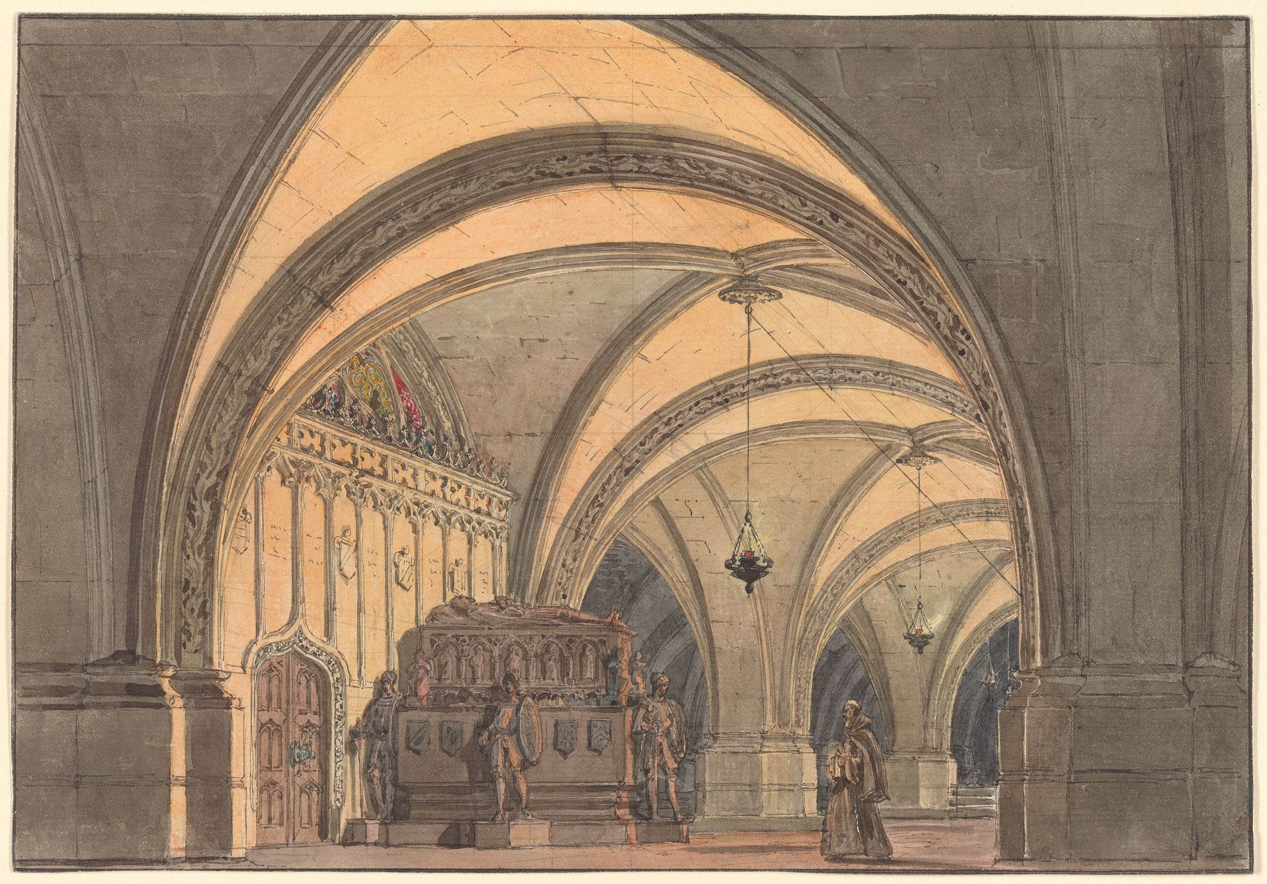 """Andreas Leonhard Roller. 1805-1880. Set Design for """"Ernani,"""" Act IV. 1863. Pen and black and gray watercolor over graphite on paper; framing lines in black ink."""
