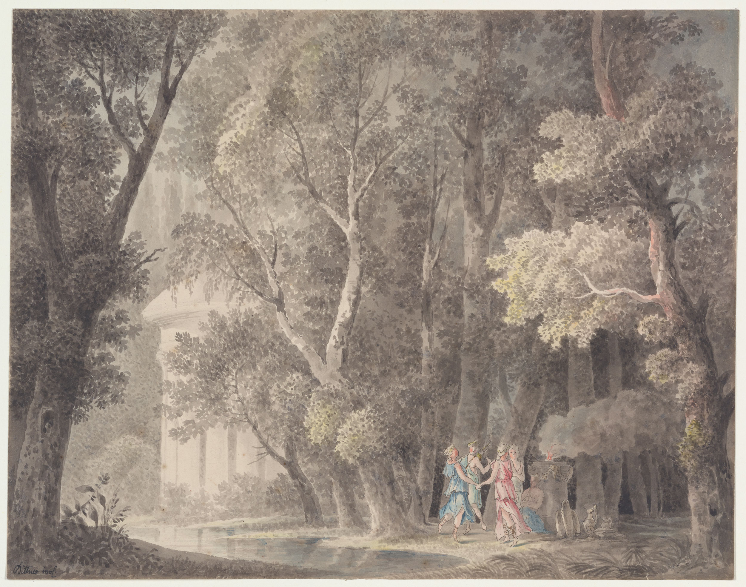 Norbert bittner forest scene with four figures dancing for Forest scene drawing