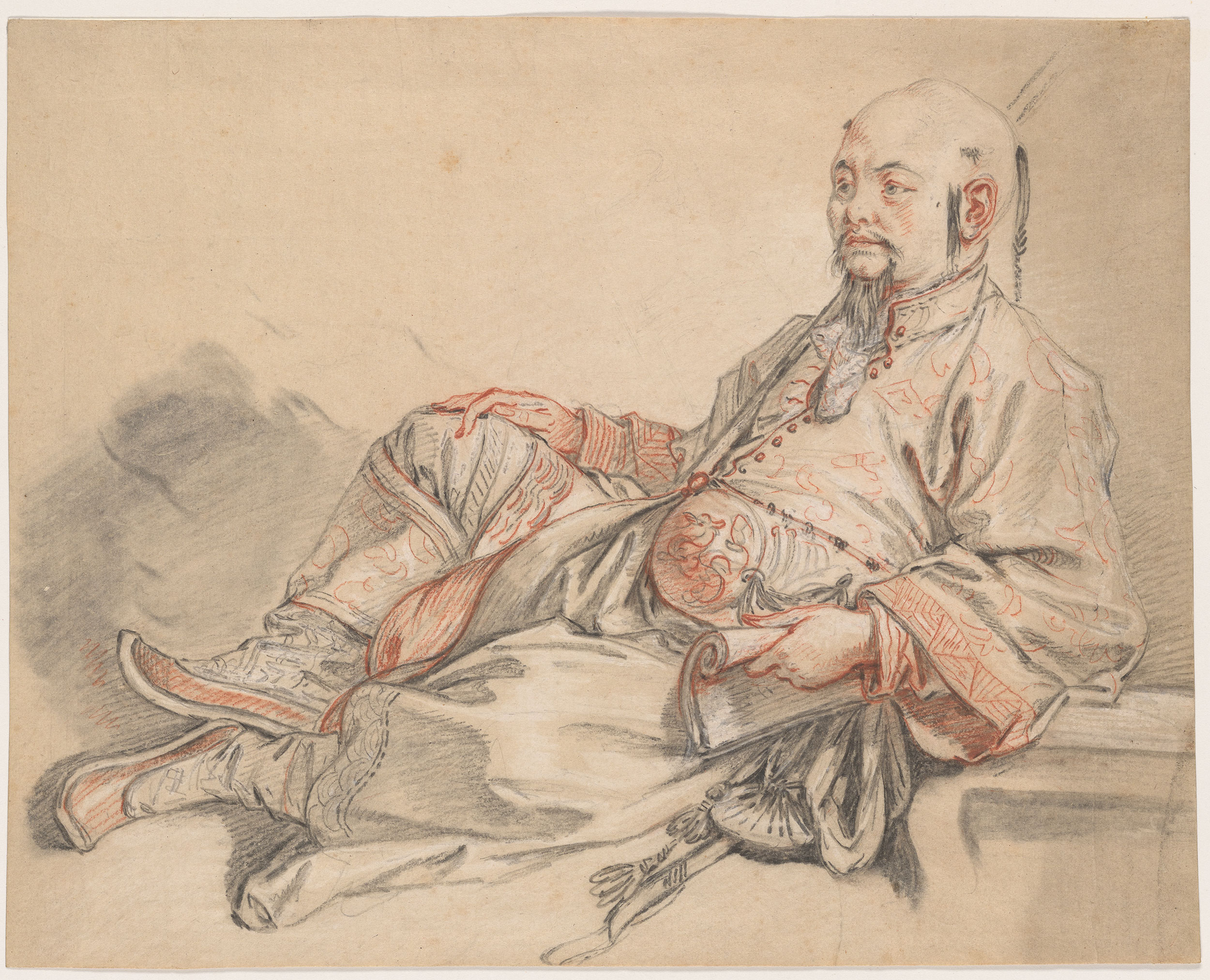 fran231ois boucher man in chinese costume reclining