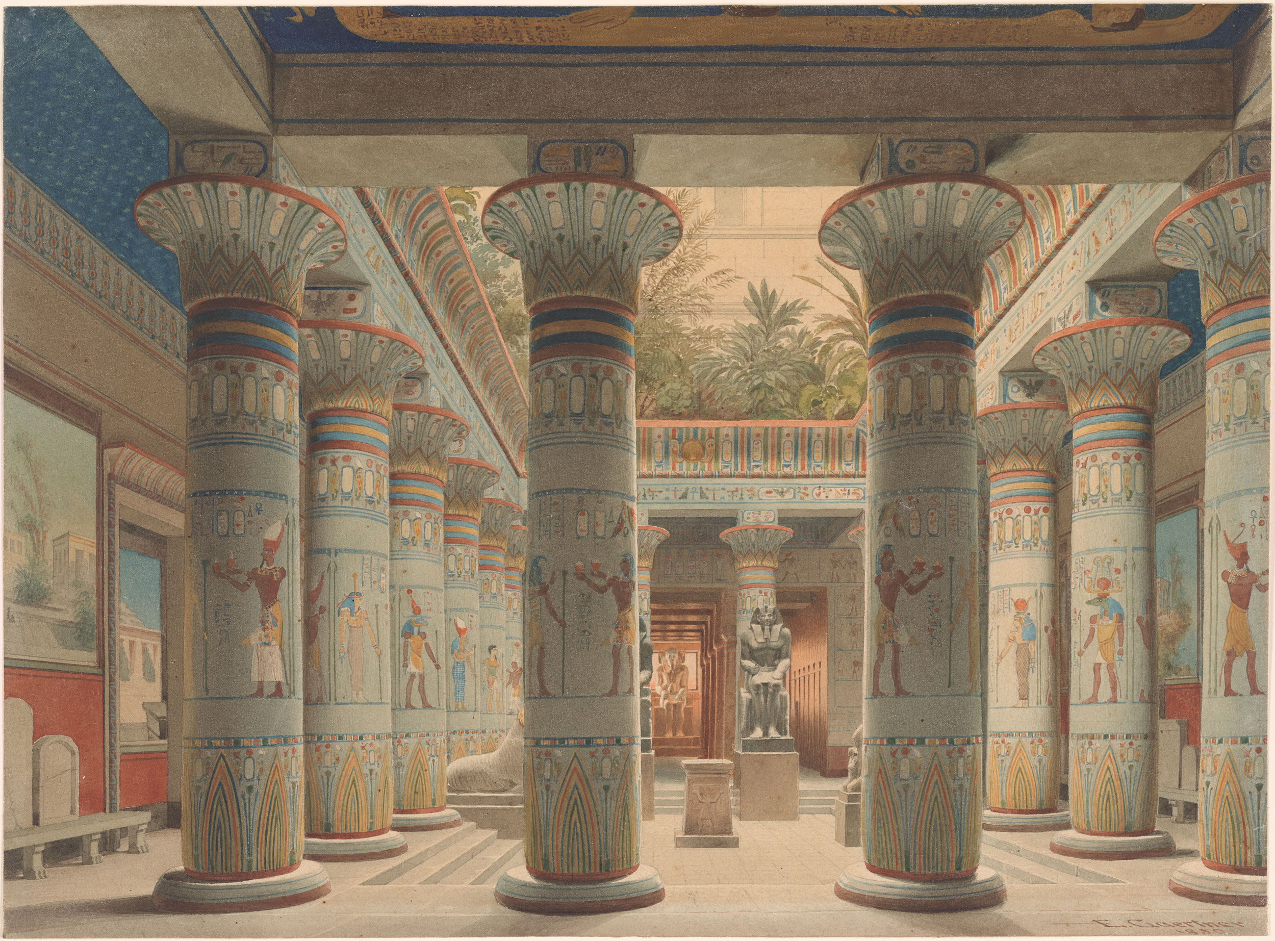 Eduard Gaertner The Egyptian Temple Court In The Neues