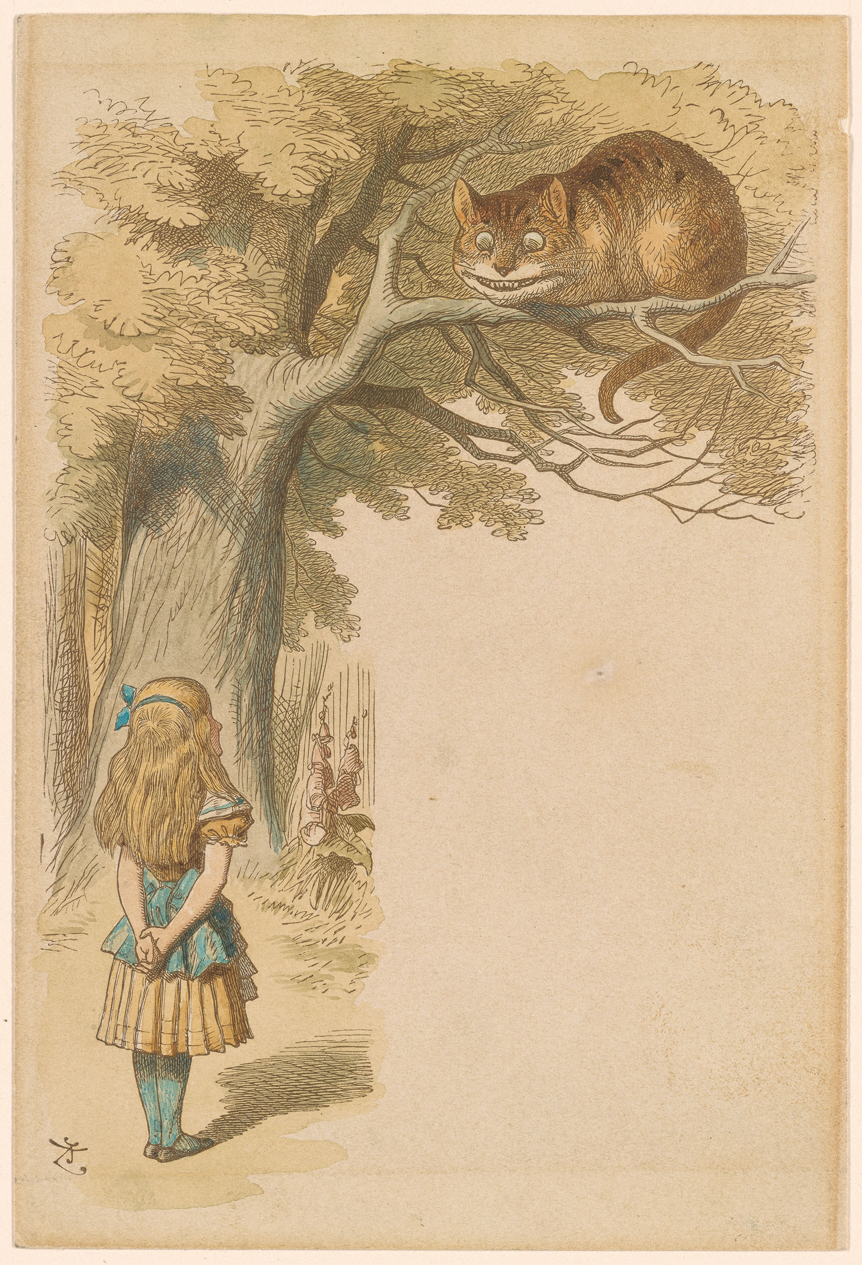 John Tenniel Cheshire Cat In The Tree Above Alice