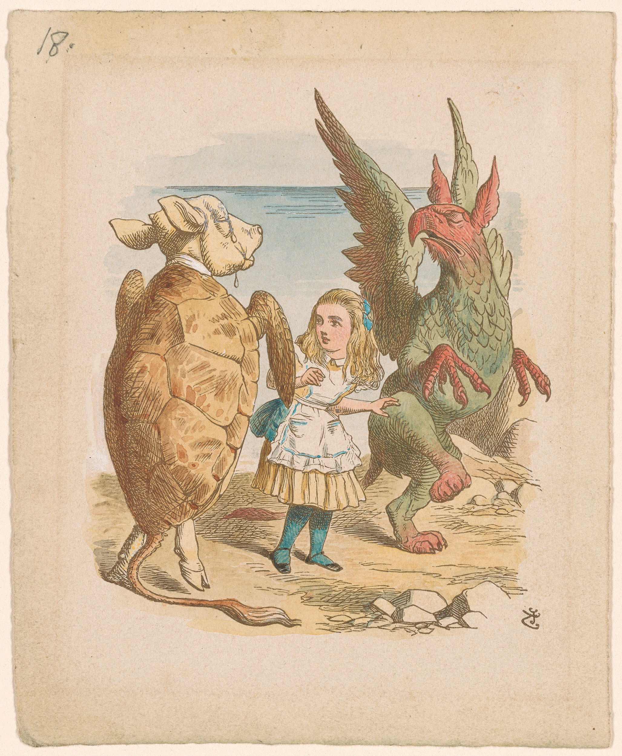 John Tenniel Alice With Gryphon And Mock Turtle