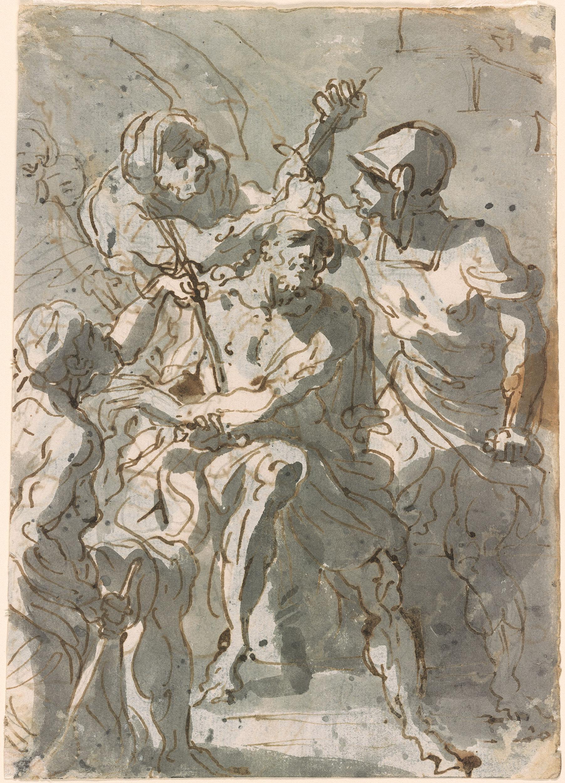 Giovanni Battista Tiepolo Christ Crowned Verso Lot And
