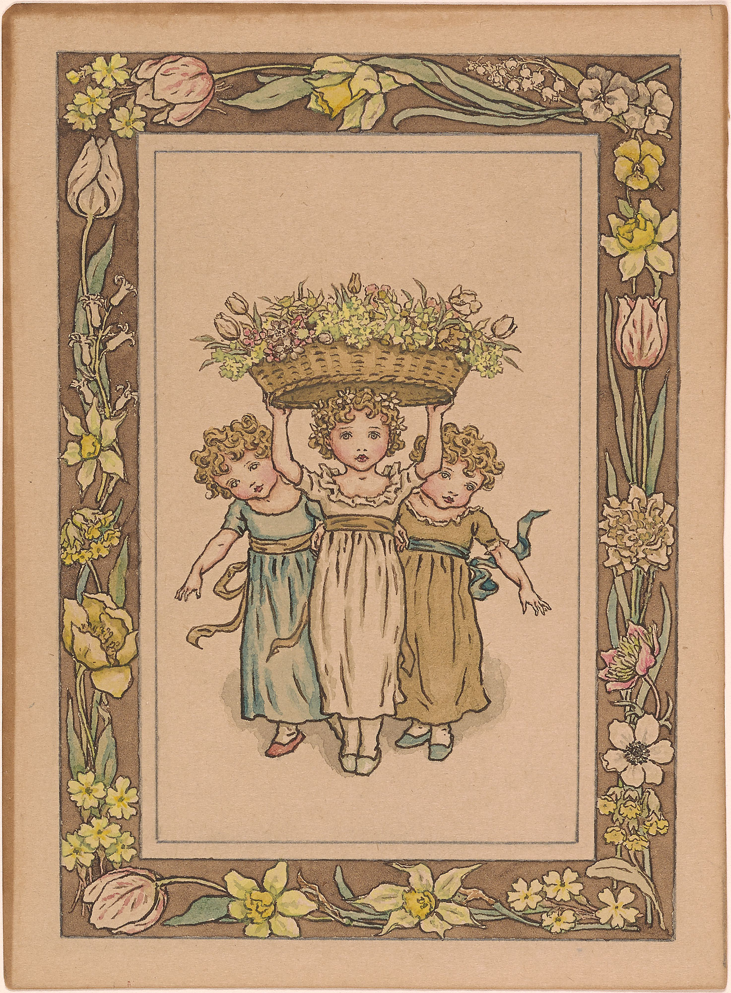 Kate Greenaway Three Girls With Flowers Drawings Online The Morgan Library Amp Museum