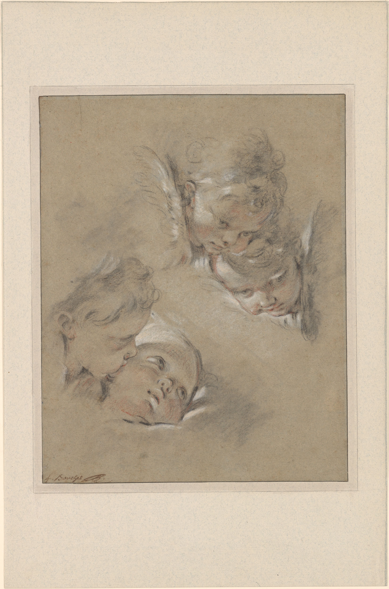 Fran 231 Ois Boucher Four Heads Of Cherubim Drawings